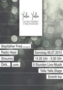 Flyer zur Yalla Yalla Bühne auf dem Stadtfest in der Fußgängerzone